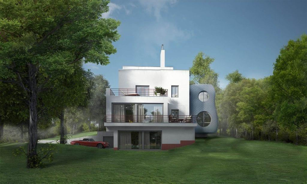 netradiční přístavba domu